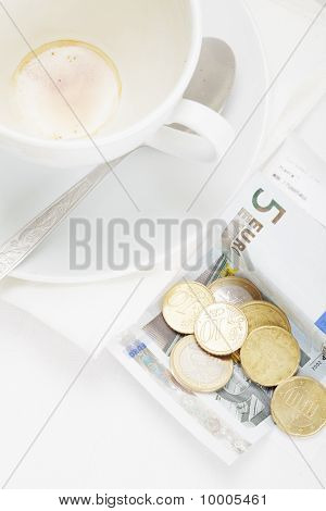 Banknote In Payment For Coffee Above View