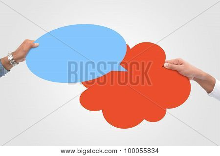 Colorful Speech bubble in hand