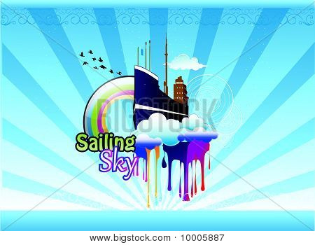 ship in the sky abstract vector