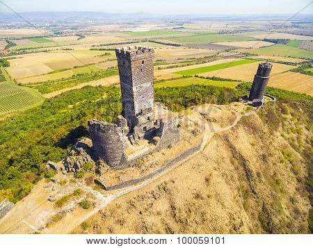 Aerial view of medieval castle Hazmburk (Klapy) nearby Prague in Czech Republic. Central Europe.