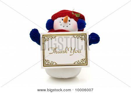Schneemann halten eine Dankeschön-Karte