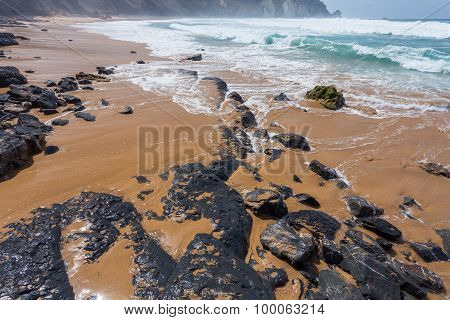 Atlantic ocean Algarve region coast beach Portugal poster