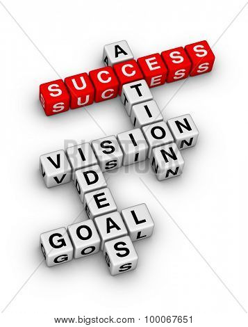 Goal, Ideas, Vision, Action 3D Crossword Puzzle isolated on white background