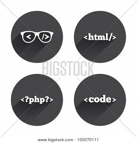 Programmer coder glasses icon. HTML markup language and PHP programming language sign symbols. Circles buttons with long flat shadow. Vector poster