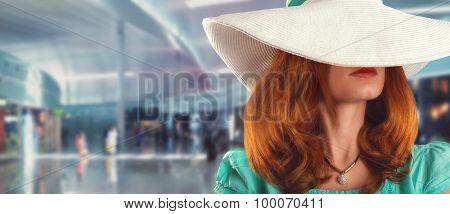 Woman with recondite face
