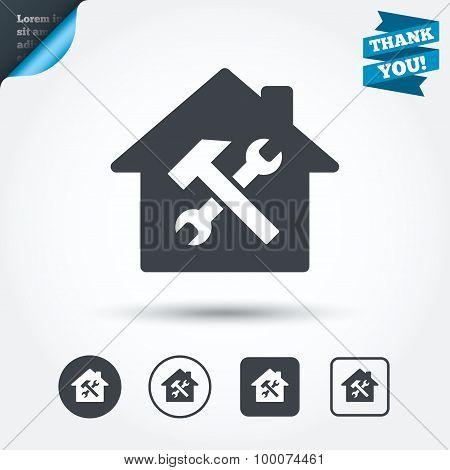 Service house. Repair tool icon. Service symbol.