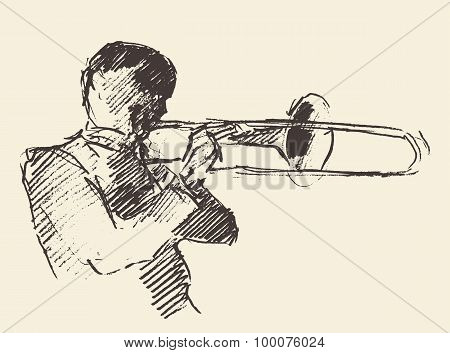 Concept for jazz poster Man playing trombone trumpet Vintage hand drawn illustration sketch poster