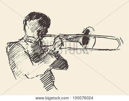 Jazz poster trombone music acoustic consept