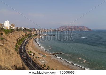 Photograph of the coastline of Miraflores, a district of Perus capital Lima. poster