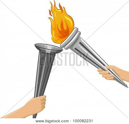 Illustration of a Torchbearer Lighting Another Torch