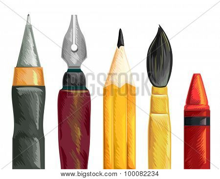 Illustration of a Set of Pens Paintbrush Pencil and Crayon