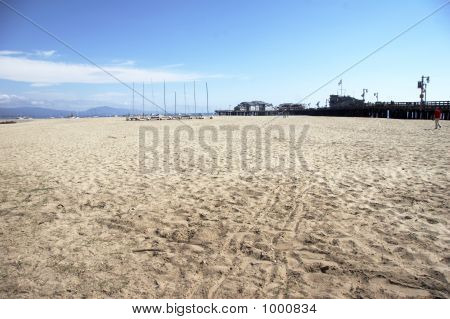 beautiful coastline with sand beach in front and ocean in background (001) poster