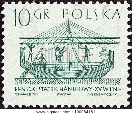 POLAND - CIRCA 1963: A stamp printed in Poland shows Phoenician merchantman (15th century B.C.)