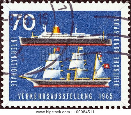 GERMANY - CIRCA 1965: A stamp printed in Germany shows Bremen (liner) and Hammonia (steamship)