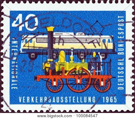 GERMANY - CIRCA 1965: A stamp printed in Germany shows Locomotives Adler and Class E.10.12