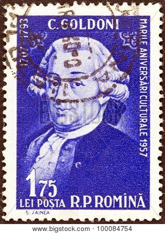 ROMANIA - CIRCA 1957: A stamp printed in Romania shows Carlo Goldoni