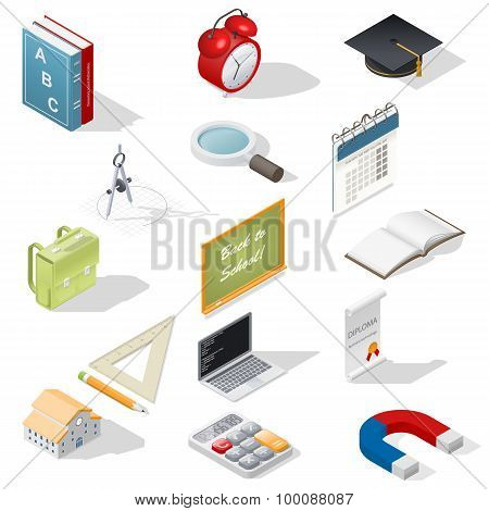 Education Isometric Isons Set