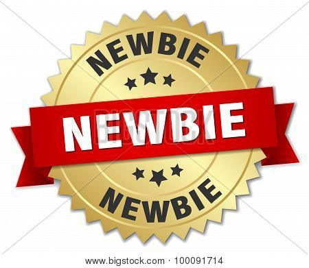 Newbie 3D Gold Badge With Red Ribbon