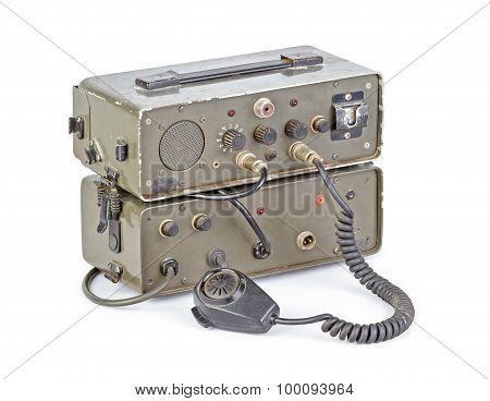 Dark Green Amateur Ham Radio On White Background