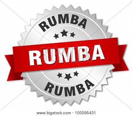 Rumba 3D Silver Badge With Red Ribbon