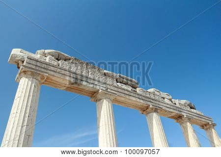 Preserved part of Doric order colonnade at ancient Agora on Greek Kos island