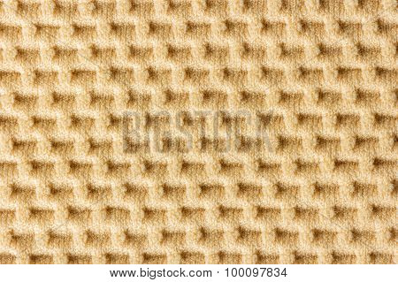 Closeup Brown Waffle Patterned Cloth.