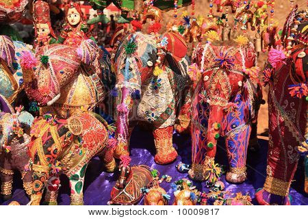 Fabric Elephants In A Goan Market