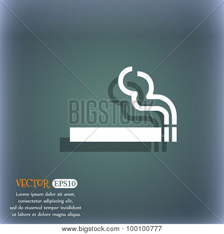 Cigarette Smoke Icon Symbol On The Blue-green Abstract Background With Shadow And Space For Your Tex