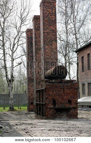 OSWIECIM, POLAND - APRIL 16, 2015: Auschwitz-OSWIECIM, POLAND - APRIL 16, 2015: Birkenau German Nazi concentration and extermination camp in Poland.