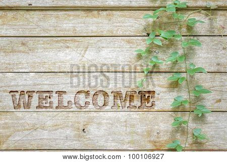 Carving Welcome Sign On Wooden Background.