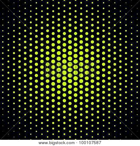 green techno dot on black background