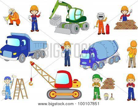 Engineer, Technician, Painter, Welder And Labor Worker Working On A Construction. Cartoon Bulldozer,