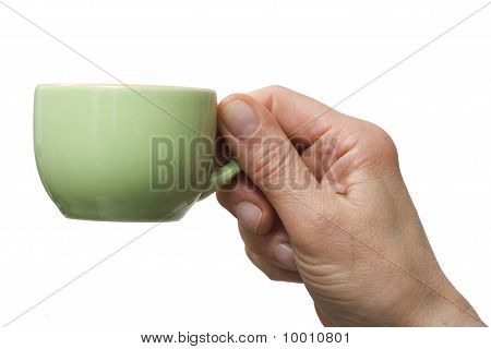 hand holding a cup of coffee isolated on white background