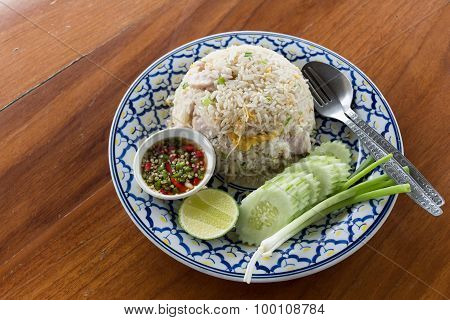 Fried Rice With Pork On Wood Table.