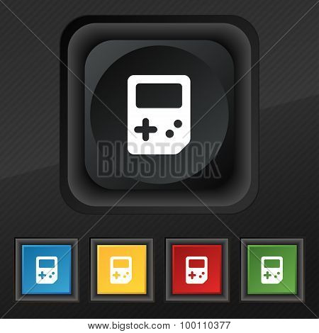 Tetris  Icon Symbol. Set Of Five Colorful, Stylish Buttons On Black Texture For Your Design. Vector