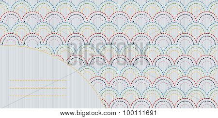 Abstract sashiko background with copy space for text.