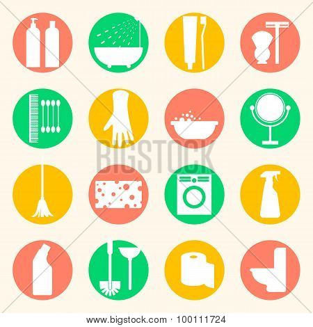 Vector cleaning and hygiene products flat icons. Cleaner and toilet paper, toothpaste and mirror, sponge and washing machine and mop. poster