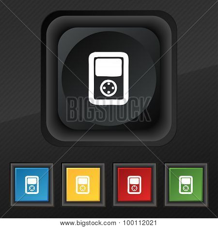 Tetris, Video Game Console Icon Symbol. Set Of Five Colorful, Stylish Buttons On Black Texture For Y