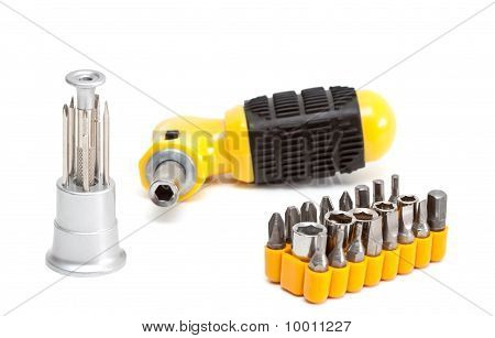 Screwdriver With Set Of Nozzles.