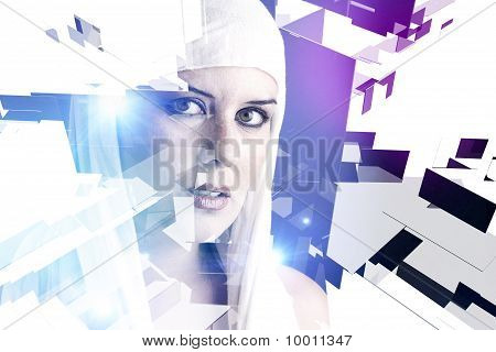 Beautiful Young Woman In 3D Cubes