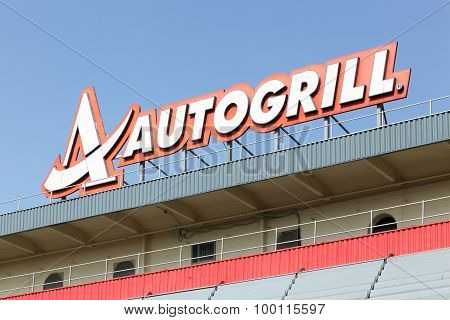 Autogrill sign on a highway