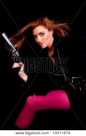 Woman Pink Gun Hair Blowing