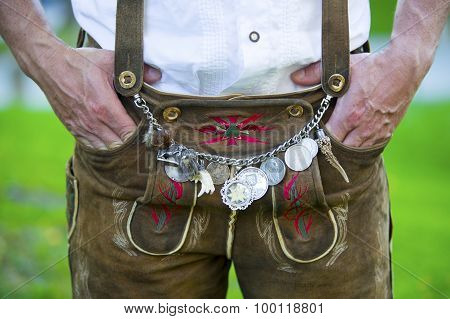 Man In Traditional Bavarian Leather Pants