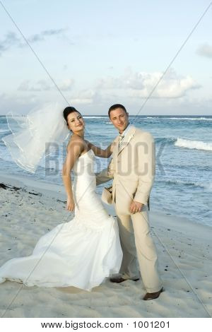 Caribbean Beach Wedding - Bride And Groom