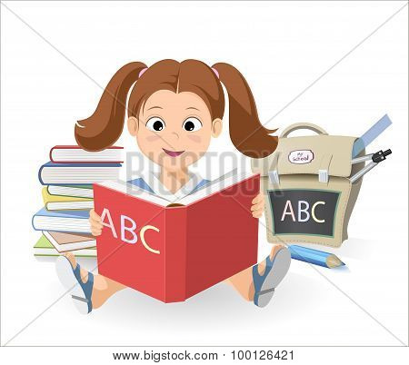 Painted Cute Smiling Little Girl Sitting With Textbook Alphabet. Learning The Alphabet. Abc Book. Sc