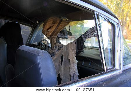 Zombie passenger in hearse