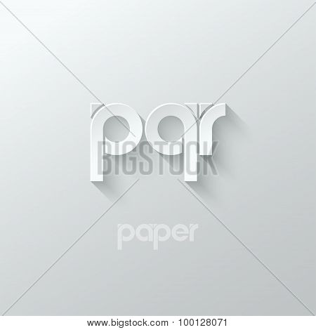 letter P Q R logo alphabet icon paper set background