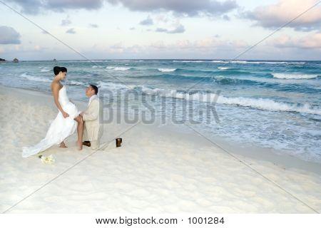 Caribbean Beach Wedding - Garter Belt