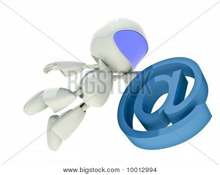 Fast Communications Concept, 3D Character With Web Icon Email