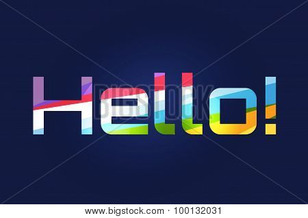 Stylish line vector background with written text Hello